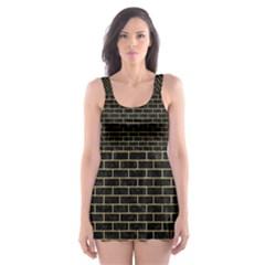 BRK1 BK MARBLE GOLD Skater Dress Swimsuit