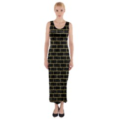 BRK1 BK MARBLE GOLD Fitted Maxi Dress