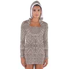 Love Hearts Beach Seashells Shells Sand Fabric  Women s Long Sleeve Hooded T-shirt
