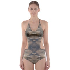 Wildlife Brown Black Cut-Out One Piece Swimsuit