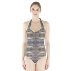 Wildlife Brown Black Women s Halter One Piece Swimsuit