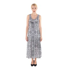 Grey White Tiles Geometric Stone Mosaic Tiles Full Print Maxi Dress