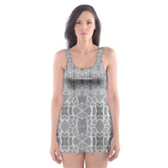 Grey White Tiles Geometric Stone Mosaic Tiles Skater Dress Swimsuit