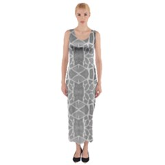 Grey White Tiles Geometric Stone Mosaic Tiles Fitted Maxi Dress
