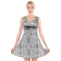 Grey White Tiles Geometric Stone Mosaic Tiles V-Neck Sleeveless Skater Dress