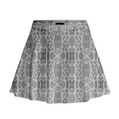 Grey White Tiles Geometric Stone Mosaic Tiles Mini Flare Skirt