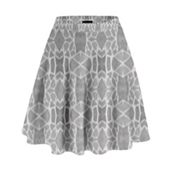 Grey White Tiles Geometric Stone Mosaic Tiles High Waist Skirt