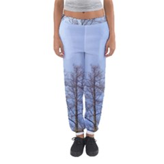 Natural Brown Blue, Large Trees in Sky Women s Jogger Sweatpants
