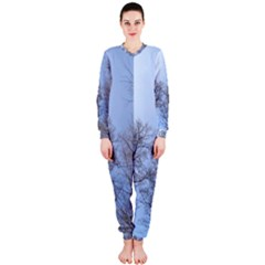 Natural Brown Blue, Large Trees In Sky Onepiece Jumpsuit (ladies)