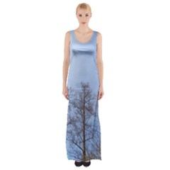Natural Brown Blue, Large Trees in Sky Maxi Thigh Split Dress