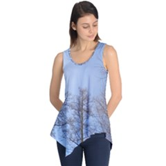 Natural Brown Blue, Large Trees in Sky Sleeveless Tunic
