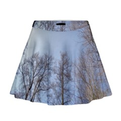 Natural Brown Blue, Large Trees in Sky Mini Flare Skirt