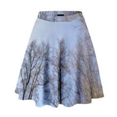 Natural Brown Blue, Large Trees In Sky High Waist Skirt
