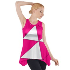 Funny Hot Pink White Geometric Triangles Kids Art Side Drop Tank Tunic