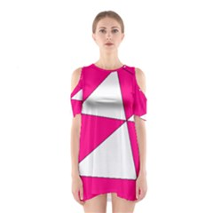 Funny Hot Pink White Geometric Triangles Kids Art Cutout Shoulder Dress