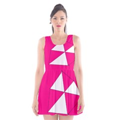 Funny Hot Pink White Geometric Triangles Kids Art Scoop Neck Skater Dress