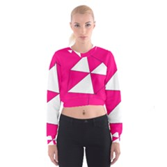 Funny Hot Pink White Geometric Triangles Kids Art Women s Cropped Sweatshirt