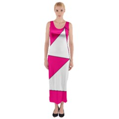 Funny Hot Pink White Geometric Triangles Kids Art Fitted Maxi Dress