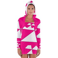 Funny Hot Pink White Geometric Triangles Kids Art Women s Long Sleeve Hooded T-shirt