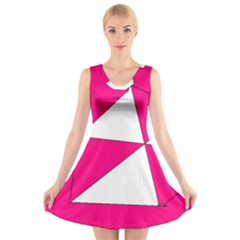 Funny Hot Pink White Geometric Triangles Kids Art V Neck Sleeveless Skater Dress