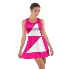 Funny Hot Pink White Geometric Triangles Kids Art Racerback Dresses