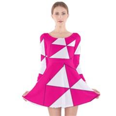 Funny Hot Pink White Geometric Triangles Kids Art Long Sleeve Velvet Skater Dress