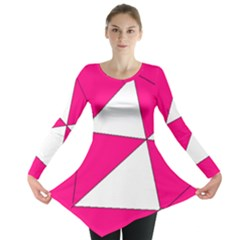 Funny Hot Pink White Geometric Triangles Kids Art Long Sleeve Tunic