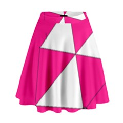 Funny Hot Pink White Geometric Triangles Kids Art High Waist Skirt