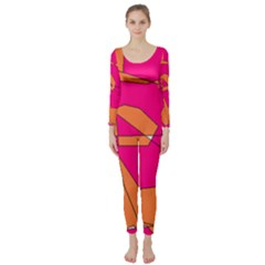 Funny Hot Pink Orange Kids Art Long Sleeve Catsuit