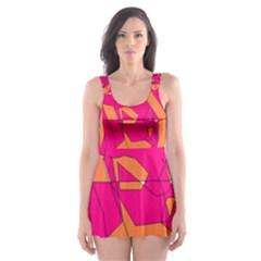 Funny Hot Pink Orange Kids Art Skater Dress Swimsuit