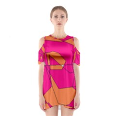 Funny Hot Pink Orange Kids Art Cutout Shoulder Dress