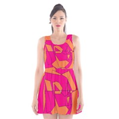 Funny Hot Pink Orange Kids Art Scoop Neck Skater Dress