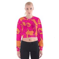 Funny Hot Pink Orange Kids Art Women s Cropped Sweatshirt