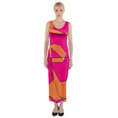Funny Hot Pink Orange Kids Art Fitted Maxi Dress