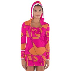 Funny Hot Pink Orange Kids Art Women s Long Sleeve Hooded T-shirt