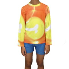Sunny Orange Yellow Flame Kid s Long Sleeve Swimwear