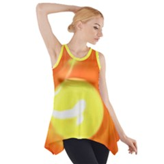 Sunny Orange Yellow Flame Side Drop Tank Tunic