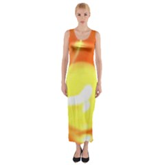 Sunny Orange Yellow Flame Fitted Maxi Dress