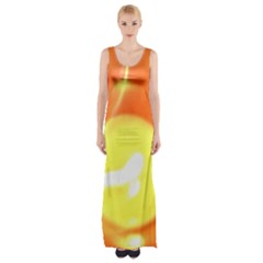 Sunny Orange Yellow Flame Maxi Thigh Split Dress