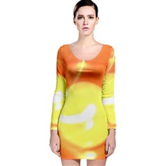 Sunny Orange Yellow Flame Long Sleeve Velvet Bodycon Dress