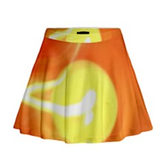 Sunny Orange Yellow Flame Mini Flare Skirt