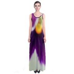 Purple Violet White Flower  Full Print Maxi Dress