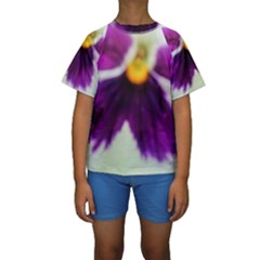 Purple Violet White Flower  Kid s Short Sleeve Swimwear