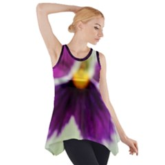 Purple Violet White Flower  Side Drop Tank Tunic