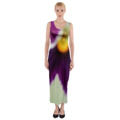 Purple Violet White Flower  Fitted Maxi Dress