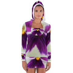 Purple Violet White Flower  Women s Long Sleeve Hooded T Shirt