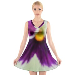 Purple Violet White Flower  V-Neck Sleeveless Skater Dress