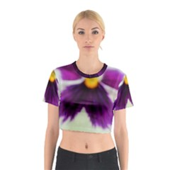 Purple Violet White Flower  Cotton Crop Top