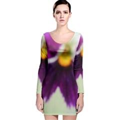 Purple Violet White Flower  Long Sleeve Velvet Bodycon Dress