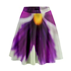 Purple Violet White Flower  High Waist Skirt